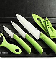 4 Pieces Ceramic Knife Set with Covers, 3'' Paring Knife 4'' Multi-function Knife 6'' Chef Knife and Peeler with Gift Box