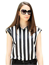 Women's Striped Black Blouse , Shirt Collar Short Sleeve