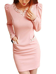 Women's Solid Pink / Black Dress , Sexy V Neck Long Sleeve