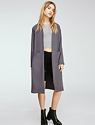 Women's Solid Pink / Gray Trench Coat , Casual Long Sleeve Polyester