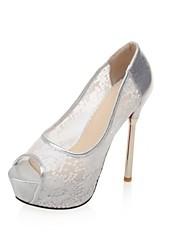 Women's Shoes Lace Stiletto Heel Heels / Peep Toe / Platform Sandals Wedding / Party & Evening / Dress Black