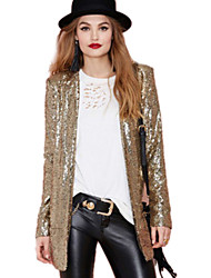 Women's All Seasons Blazer,Solid Long Sleeve Gold / Silver Polyester Medium