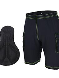 Arsuxeo® Bermudas Acolchoadas Para Ciclismo Homens / Unissexo Respirável / Tapete 3D / Tiras Refletoras Moto Shorts Terylene Cor Única