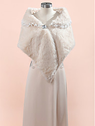 Wedding  Wraps / Fur Wraps Shawls Sleeveless Faux Fur Ivory / Champagne Wedding / Party/Evening Lace Clasp