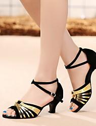 Non Customizable Women's Dance Shoes Leather / Patent Leather Leather / Patent Leather Latin Heels Cuban HeelIndoor / Performance /