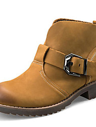 Women's Shoes Leather Flat Heel Cowboy / Western Boots / Combat Boots Boots Outdoor / Work & Duty / Casual Brown
