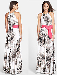 family Women's Print Multi-color Dresses , Casual / Work Round Sleeveless