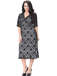 Women's Beach / Plus Sizes Boho / Print Shift Dress , Halter / V Neck Midi Spandex / Others