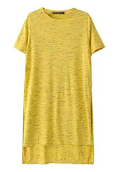 Women's Solid Yellow Blouse , Shirt Collar Short Sleeve