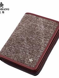 Portefeuille / Etui à Carte & Pièce d'Identité / Mobile Bag Phone - Double Portefeuille - Gris - Cuir de Vache / Acrylique - Homme