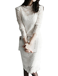 Women's Going out / Work Sophisticated Sheath / Lace / Black and White Dress,Solid Stand Knee-length Long Sleeve White / BlackCotton /