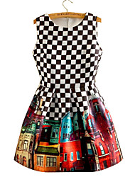 Women's Print/Check Black/White Dress, Vintage Round Neck Sleeveless Pleated