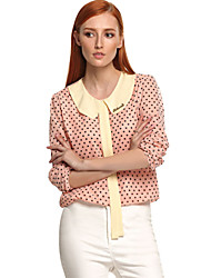 Women's Polka Dot Blue / Pink Blouse , Shirt Collar Long Sleeve