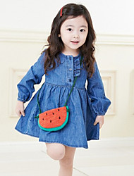 Girl's Spring / Fall Cotton Sequin Long Sleeveed Packet  Sweet  Dress
