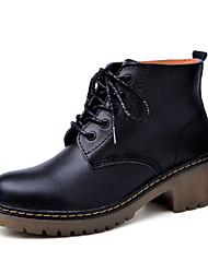 Damen-Stiefel-Lässig-Leder-Blockabsatz-Komfort Gladiator-Schwarz Rot