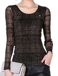 Women's Round Neck Long Sleeve Lace Sexy Purl Splicing Lace Gold / Silver Plaid Blouse T-Shirt Blouse Tops