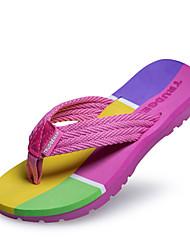 Women's Flip Flops Slippers Synthetic Dress Casual Flat Heel Green Pink Red