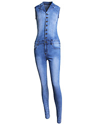 Women's Slim Jumpsuits,Going out Casual/Daily Simple Street chic Solid Denim Shirt Collar Sleeveless Mid Rise Cotton Summer Spring