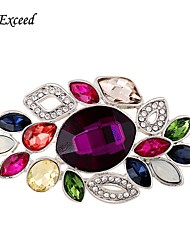 D Exceed Multicolor Crystal Rhinestone Silver Plated Chinese Redbud Flower Brooch Pin Jewelry Women Brooches for Scarf