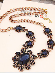 Women's Statement Necklaces Crystal Gemstone & Crystal Alloy Flower Sunflower Fashion Light Blue Dark Gray Royal Blue JewelrySpecial
