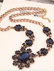 Женский Заявление ожерелья Кристалл Сплав В форме цветка Подсолнух Мода Светло-синий Темно-серый Тёмно-синий БижутерияОсобые случаи День