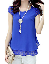 Women's Casual/Daily Simple Summer Blouse Round Neck Short Sleeve Blue / Pink / White / Purple Thin