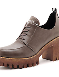 Черный / Серый-Женская обувь-Для праздника / Для вечеринки / ужина-Дерматин-На толстом каблуке-На каблуках-Обувь на каблуках