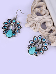 HUALUO®Fashion Retro Pattern Peacock Turquoise Earrings