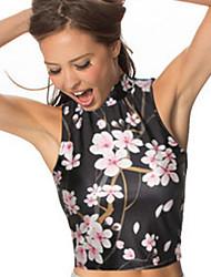 Women's Floral Multi-color Blouse , Round Neck Sleeveless