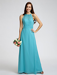Lanting Bride® Ankle-length Georgette Bridesmaid Dress - Sheath / Column Jewel with Ruching