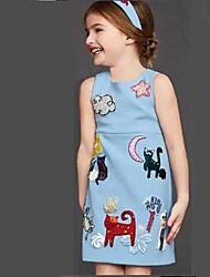 Girl's Classical Blue Dress , Cartoon Cotton / Linen Summer / Spring / Fall