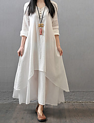 Women's Casual Solid Dress , V Neck Loose  Ball Gown Maxi Linen