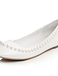 Women's Shoes Leather Flat Heel Round Toe Flats Wedding / Dress Black / White