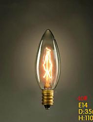 e14 40w 220v-240v c35 vela amarilla pequeña edison tornillo bombilla