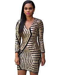 Women's  Long Sleeve Gold Sequin Dress