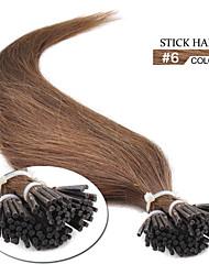 """100 x 0.5g 18 """"pre enlazado extremidad del palillo real natural 100% inclino iTIP extensiones de cabello humano 6 # marrón medio"""