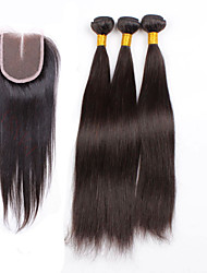 Haar-Einschlagfaden mit Verschluss Brasilianisches Haar Gerade 6 Monate 4 Stück Haar webt