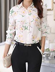 Women's Fashion Print Color Block Chiffon Long Sleeve Shirt
