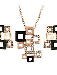 HKTC Special Hollowed Frame Design Magic Cube Pendant Necklace and Stud Earrings Set