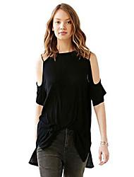 Women's Solid Black Blouse , Round Neck Short Sleeve