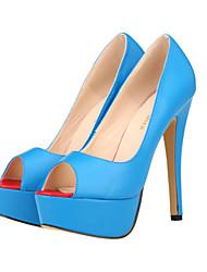 Women's Shoes Leatherette Stiletto Heel Heels / Peep Toe / Platform / Open Toe Heels Party & Evening /  Blue / Red /
