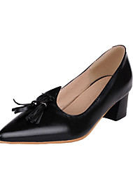 Women's Heels Basic Pump Spring Summer Synthetic Microfiber PU Patent Leather PU Wedding Casual Dress Office & Career Tassel(s) Chunky