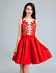 Cocktail Party Dress - Ruby A-line Scoop Short/Mini Satin / Tulle