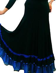 Ballroom Dance Tutus & Skirts Women's Performance Milk Fiber Ruffles 1 Piece Fuchsia / Green / Red / Royal Blue Modern Dance Skirt