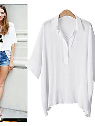 Women's Solid Blue / White / Beige Blouse , Shirt Collar ¾ Sleeve