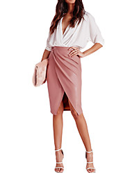 Women PU Skirt Cross Front High Waist Solid Color Fleece Lining Midi Skirt