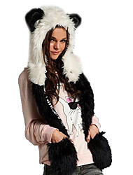 Women's Panda Gloves Integration Fur Hat