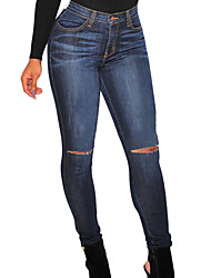 Women's Dark Denim Ripped Knee Skinny Jeans