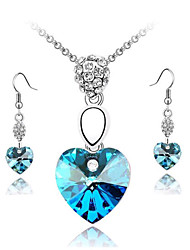 HUALUO®Heart Necklace Earrings Necklace Set