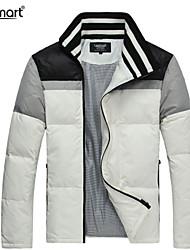 Lesmart Hombre Escote Chino Manga Larga Abajo y abrigos esquimales Blanco - MDME10215